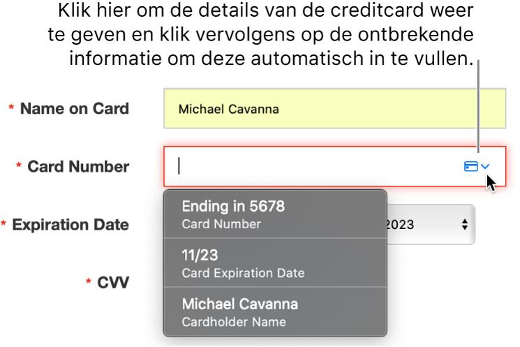 Creditcardgegevens met een ontbrekende gegevens. De optie voor automatisch invullen geeft de beschikbare opties weer.