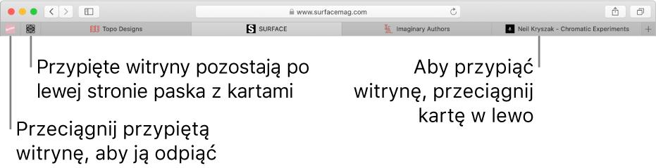 Przypięte witryny na pasku zkartami wSafari.