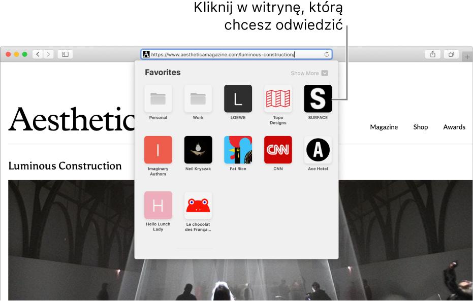 Inteligentne pole wyszukiwania wSafari. Poniżej tego pola widoczne są ikony ulubionych witryn.
