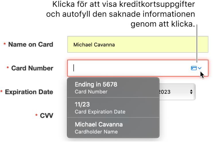 Kreditkortsuppgifter där det saknas information, och autofyll visar de tillgängliga alternativen.