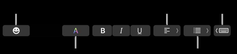 Mail uygulamasından düğmelerin olduğu touch Bar; soldan sağa Emoji, Renkler, Kalın, İtalik, Altı Çizgili, Hizalama, Listeler ve Yazma Önerileri.