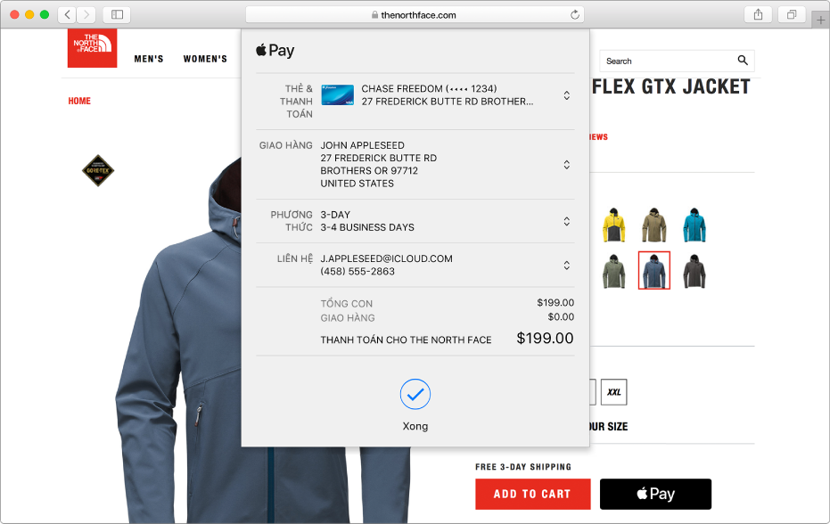 Trang web mua sắm phổ biến cho phép Apple Pay và chi tiết giao dịch mua của bạn bao gồm thẻ tín dụng được tính tiền, thông tin giao hàng, thông tin cửa hàng và giá mua hàng.