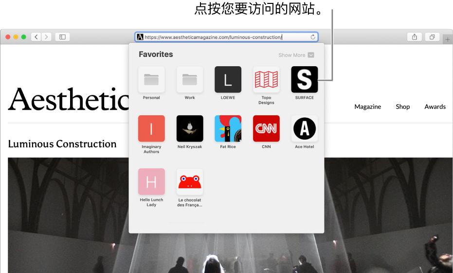 Safari 浏览器地址和搜索栏;其下方是个人收藏网站的图标。