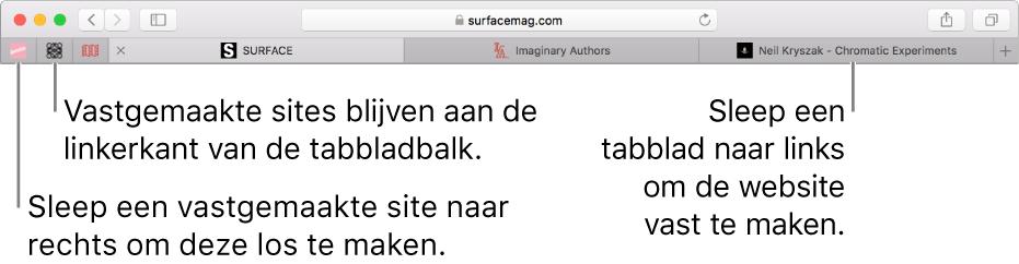 Vastgemaakte websites in de tabbladbalk van Safari.