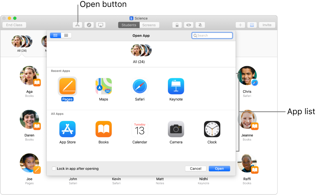 The Classroom window showing available apps that appear when you tap the Open.