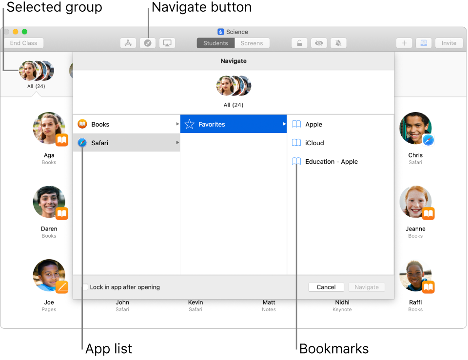 A Classroom window highlighting the Navigate button and a selected group of students. The Navigate pane shows two destinations—Books and Safari.