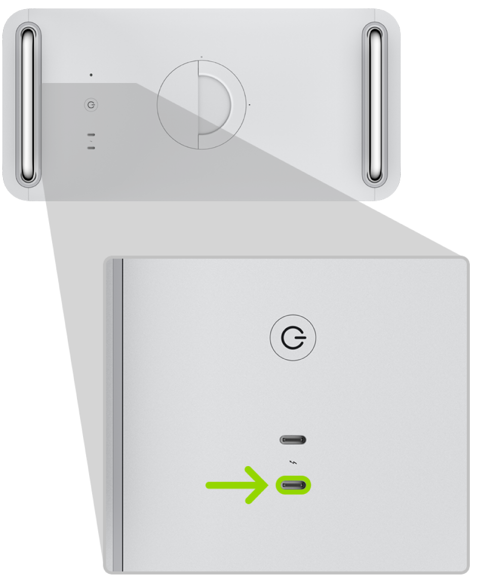 Thunderbolt-Anschluss, der für den MacPro verwendet wird, um die Firmware des Apple-T2-Sicherheitschips zu reparieren oder wiederherzustellen.