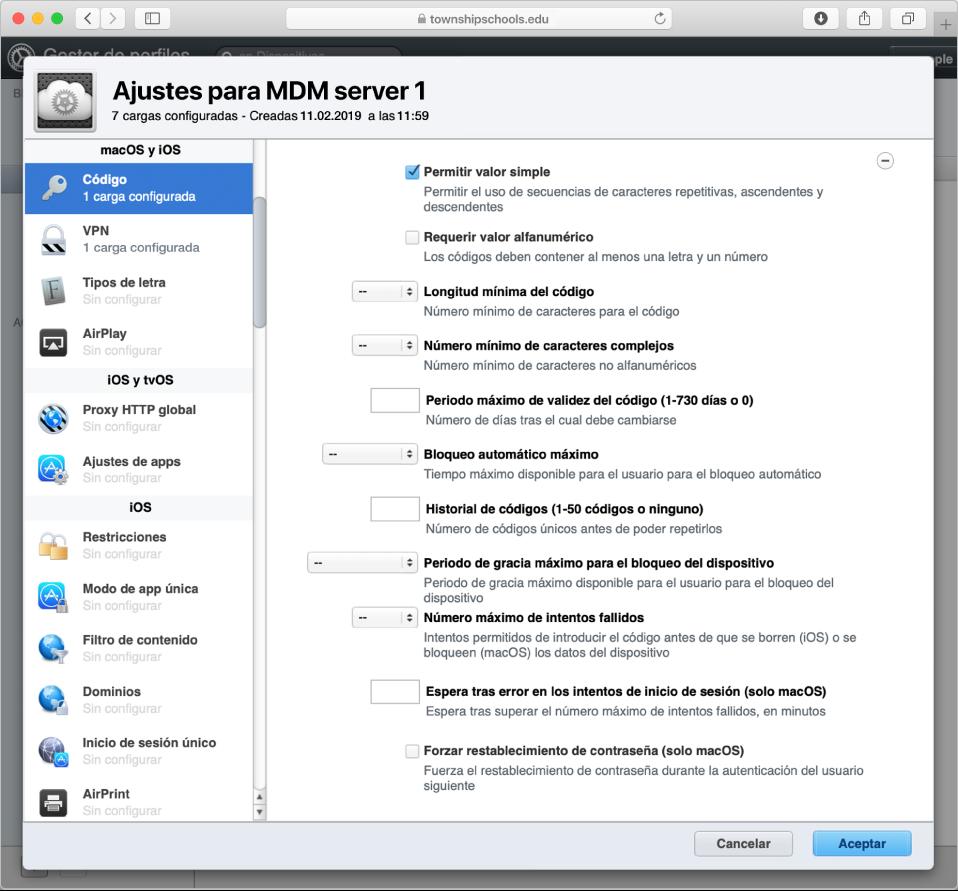 Opciones de restricción de códigos y contraseñas de macOS, iOS y iPadOS en el gestor de perfiles.