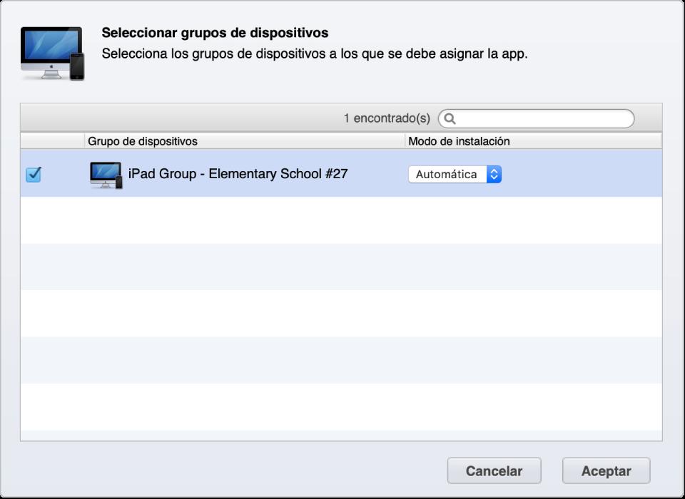 Un grupo de dispositivos del gestor de perfiles al que se le asignarán automáticamente apps.