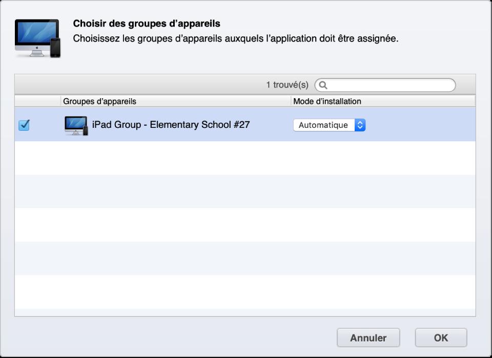Un groupe d'appareils Gestionnaire de profils qui reçoit automatiquement des apps.