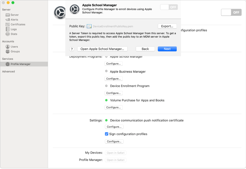 You link Apple School Manager or Apple Business Manager to Profile Manager using the Server app.