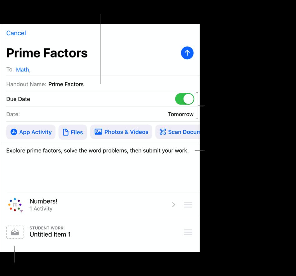 """Ein Beispiel-Popup für """"Neues Handout"""" – Prime Factors – zeigt die Mathematikklasse als Empfänger, den Handout-Namen, den morgigen Tag als Abgabetermin, Anweisungen und zwei hinzugefügte Aktivitäten."""