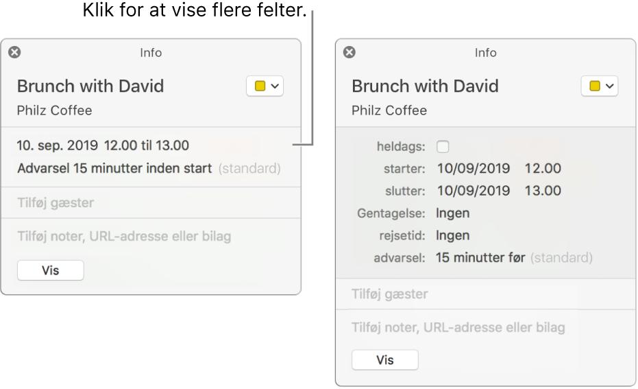 Infovindue for en begivenhed med oplysninger skjult (til venstre), og samme begivenheds infovindue med varighedsoplysninger vist (til højre).