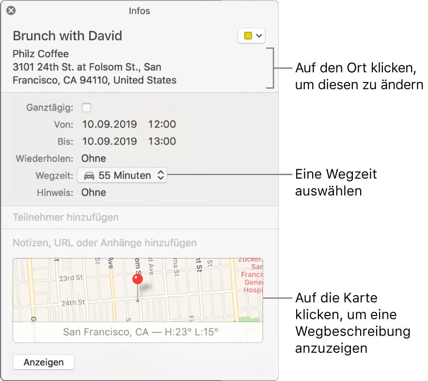 """Infofenster für ein Ereignis mit dem Zeiger über dem Einblendmenü """"Wegzeit"""" Wähle eine Wegzeit aus dem Einblendmenü aus. Klicke auf den Ort, um diesen zu ändern. Klicke auf die Karte, um eine Wegbeschreibung zu erhalten."""