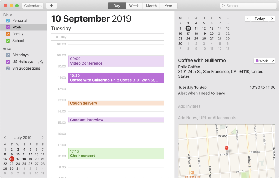 A Calendar window in Day view showing colour-coded personal, work, family and school calendars in the sidebar under the iCloud account heading.