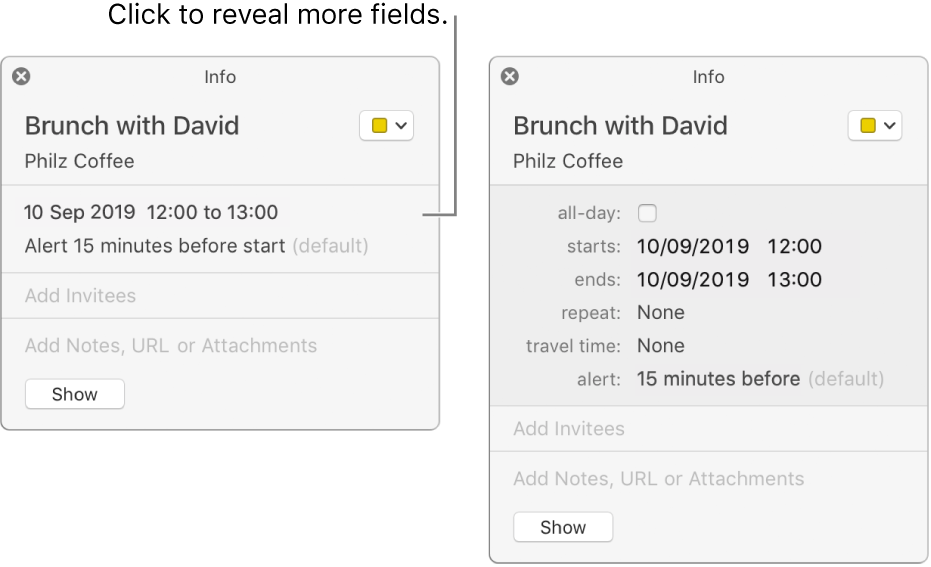 The image on the left shows an unexpanded Info window for an event. On the right, the Info window for the same event is expanded to show additional fields, such as starts, ends, repeat and travel time.