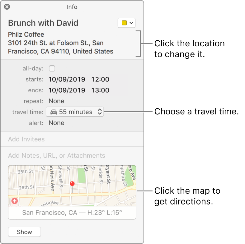 Info window for an event, with the pointer over the Travel Time pop-up menu. Choose a travel time from the pop-up menu. Click the location to change it. Click the map to get directions