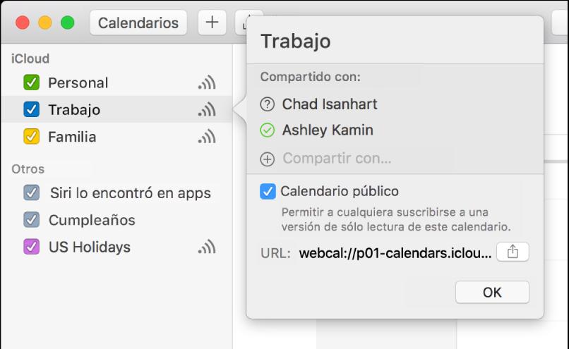 """La ventana """"Configuración de compartir"""" con dos personas invitadas para compartir, y la opción """"Calendario público"""" seleccionada"""
