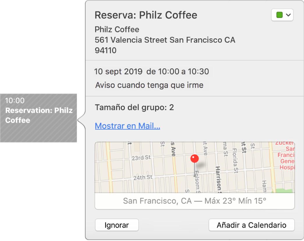 Ventana de eventos de Calendario de un evento encontrado en una app, como Mail.