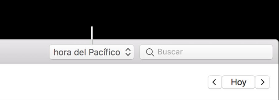 El menú de zona horaria aparecerá a la izquierda del campo de búsqueda cuando actives la compatibilidad con las zonas horarias