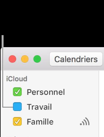 Cocher la case d'un calendrier pour afficher tous ses événements