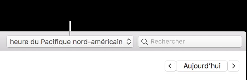 Le menu Fuseau horaire apparaît à gauche du champ de recherche, lorsque la prise en charge de cette fonctionnalité est activée