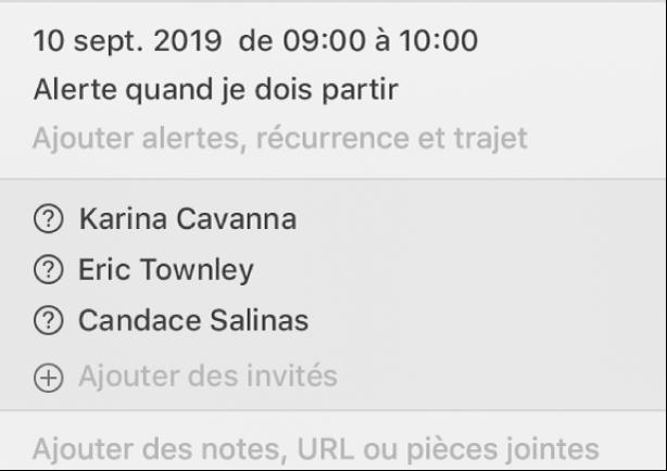 Fenêtre d'informations d'un événement, recadrée de manière à n'afficher que les invités