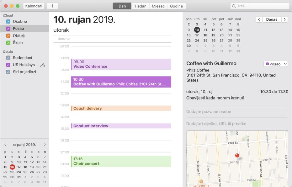 Prozor Kalendar u dnevnom prikazu koji prikazuje događaje kodirane bojom za osobne, poslovne, obiteljske i školske kalendare u rubnom stupcu pod naslovom računa iClouda.