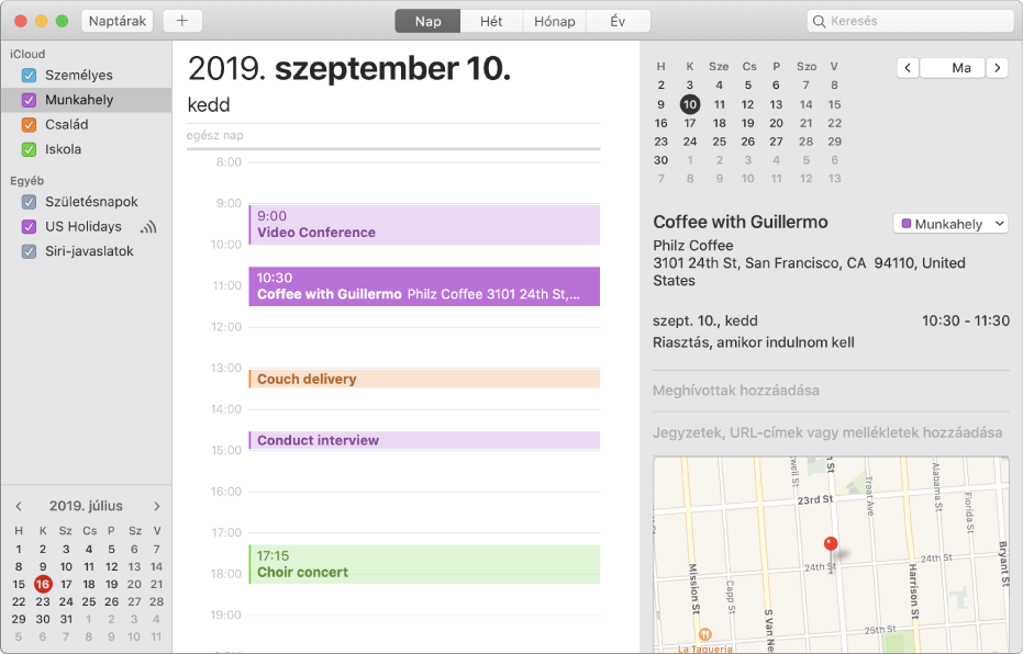 Naptár ablak Napi nézetben; színkódos események láthatók az iCloud-fiók fejléce alatti oldalsávban felsorolt személyes, munka- és családi naptárakhoz.