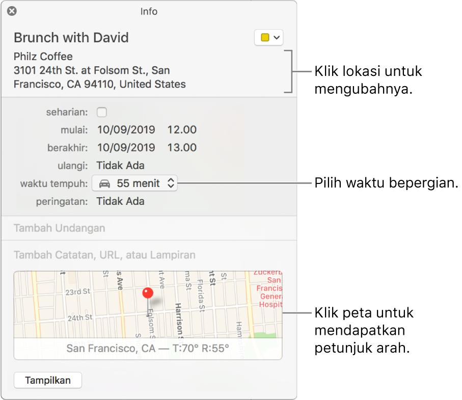 Jendela info untuk acara, dengan penunjuk di atas menu pop-up Waktu Perjalanan. Pilih waktu perjalanan dari menu pop-up. Klik lokasi untuk mengubahnya. Klik peta untuk mendapatkan petunjuk arah