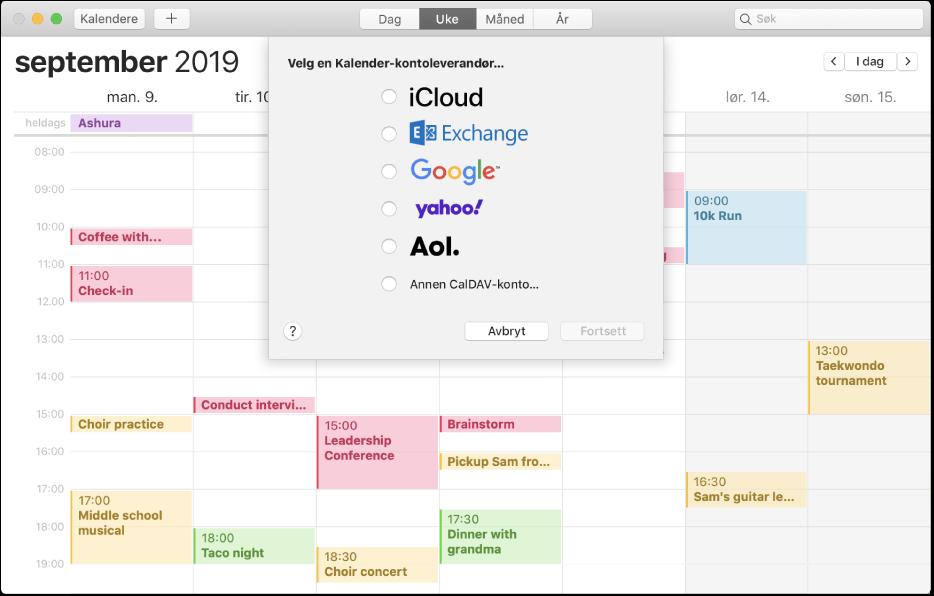 Et Kalender-vindu som viser Legg til konto-panelet.