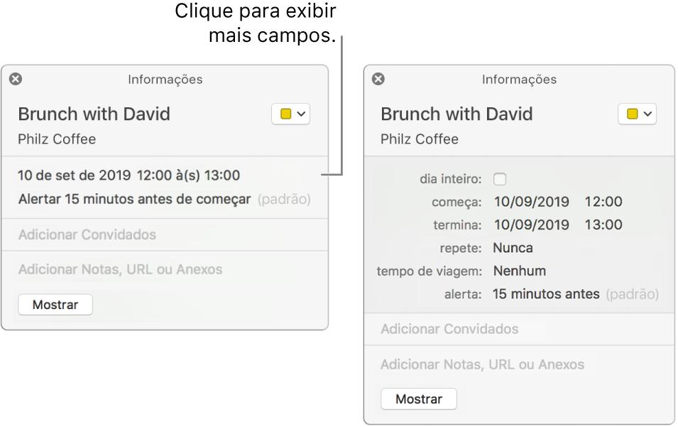 Janela de informações de um evento com os detalhes ocultos (à esquerda) e a mesma janela de informações do evento exibindo detalhes de duração (à direita).