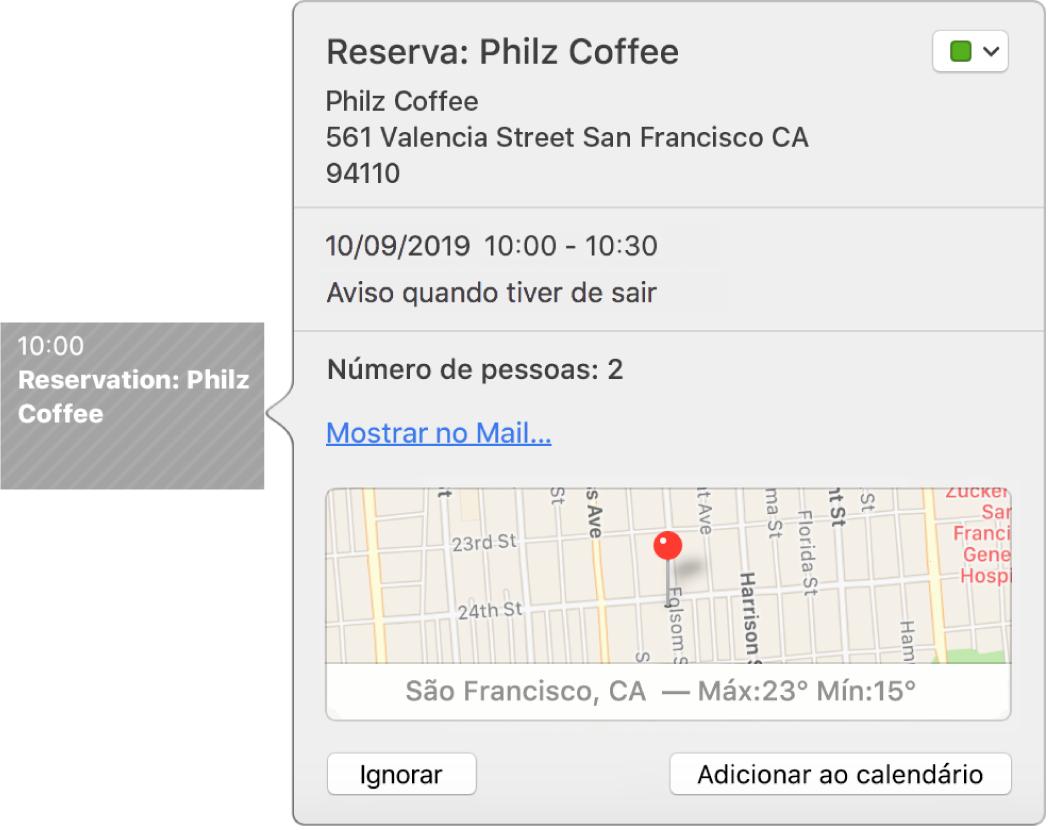 A janela de informação de um evento encontrado numa aplicação, como o Mail.