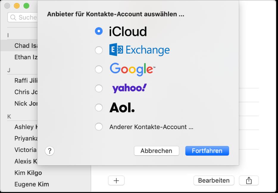 """Das Fenster zum Hinzufügen von Internetaccounts zur App """"Kontakte"""""""
