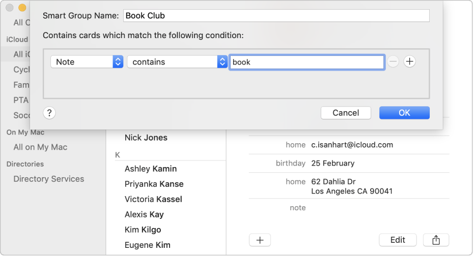The window for adding a Smart Group, with a group named 'Book Club' that includes contacts who have the word 'book' in their Note field.