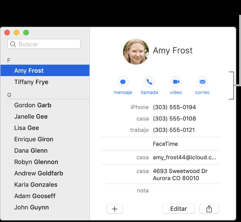 Una tarjeta de contacto con los botones situados debajo del nombre del contacto. Puedes utilizar estos botones para iniciar un mensaje de texto, una llamada de teléfono o de vídeo, o un correo electrónico.