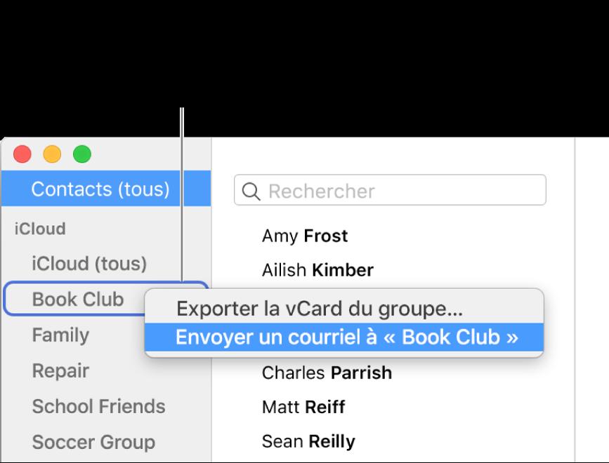 La barre latérale de Contacts affichant le menu contextuel avec la commande permettant d'envoyer un courriel au groupe sélectionné.