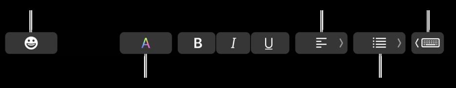मेल ऐप के बटनों वाला Touch Bar जिसमें —बाएं से दाएं—ईमोजी, रंग, बोल्ड, इटैलिक्स, रेखांकन, अलाइनमेंट, सूचियाँ, टाइपिंग सुझाव शामिल है।