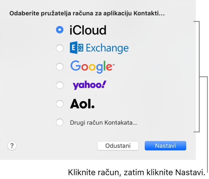 Prozor za dodavanje internetskih računa u aplikaciju Kontakti.