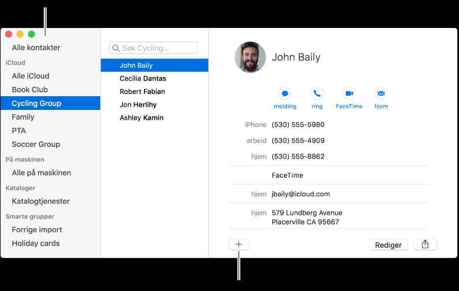Kontakter-vinduet, som viser sidepanelet med grupper som Bokklubb og Fotballag, og knappen nederst på et kontaktkort for å legge til en ny gruppe.