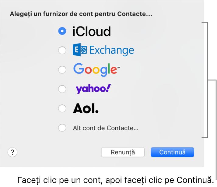 Fereastra pentru adăugarea conturilor de internet în aplicația Contacte.