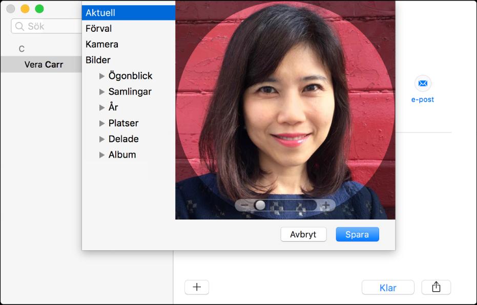 Fönstret för att lägga till eller byta ut en bild för en kontakt: till vänster visas listan med källor, till exempel Förval eller Kamera, och till höger finns den nuvarande bilden samt ett skjutreglage för att zooma in bilden.