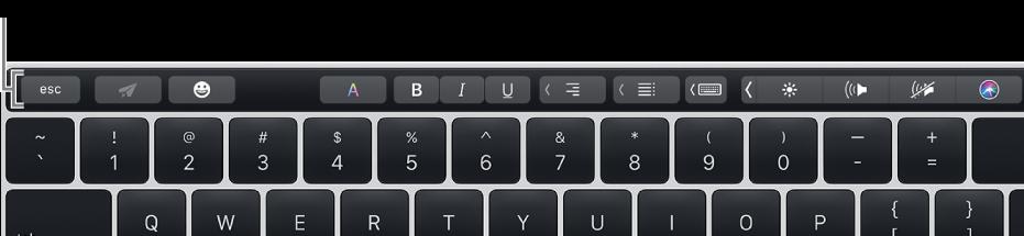 TouchBar عبر الجزء العلوي من لوحة المفاتيح.