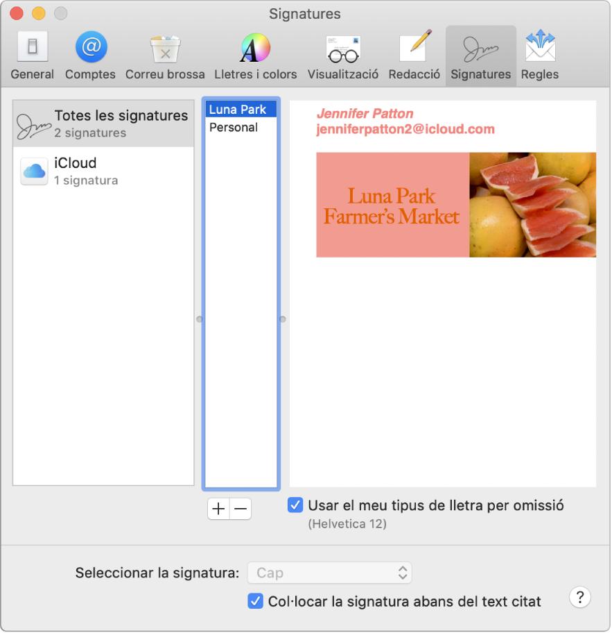 El tauler de preferències Signatures del Mail, que mostra una signatura que conté text amb format i una imatge.