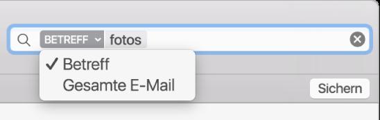 Klicke auf den Pfeil in einem Suchfilter, um den Filter zu ändern.