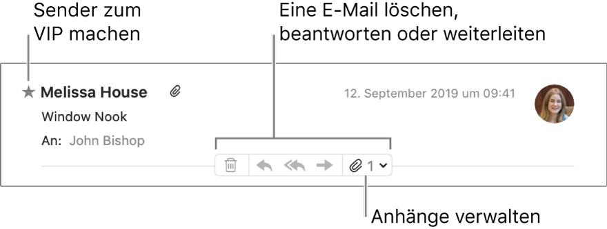 Ein E-Mail-Header mit einem Stern neben dem Namen des Absenders, der den Absender als VIP kennzeichnet, und Tasten zum Löschen, Beantworten oder Weiterleiten einer E-Mail sowie zum Verwalten von Anhängen.