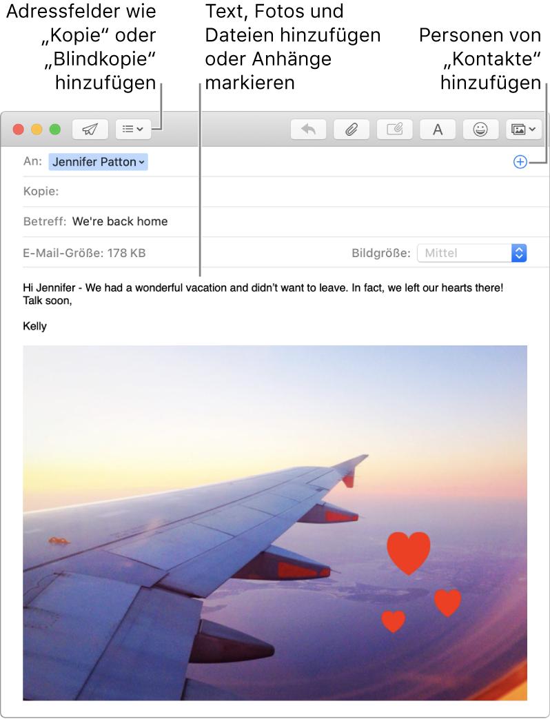 """Ein Fenster für eine neue E-Mail mit Tasten für Header-Felder, der Taste """"Hinzufügen"""" in einem Adressfeld zum Hinzufügen von Personen aus """"Kontakte"""" sowie einem mit einer Anmerkung versehenden Bild im E-Mail-Text"""
