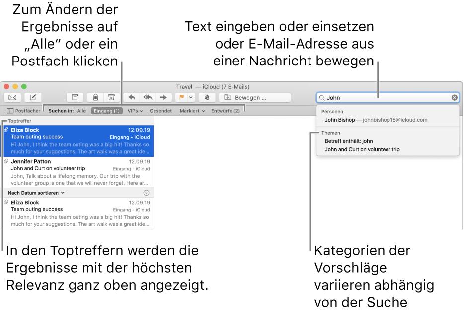 Das durchsuchte Postfach wird in der Suchleiste hervorgehoben. Wenn du ein anderes Postfach durchsuchen möchtest, klicke einfach auf dessen Namen. Du kannst Text in das Suchfeld eingeben oder einsetzen oder eine E-Mail-Adresse aus einer E-Mail bewegen. Während der Eingabe werden unterhalb des Suchfelds Vorschläge angezeigt. Diese werden abhängig von dem von dir gesuchten Text in Kategorien wie Betreff, Status oder Anhänge verwaltet. In den Toptreffern werden die Ergebnisse mit der höchsten Relevanz ganz oben angezeigt.