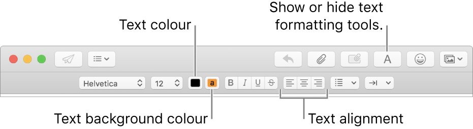 The toolbar and formatting bar in a new message window indicating the text colour, text background colour and text alignment buttons.