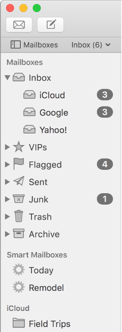 The Mail sidebar showing different accounts and mailboxes. Above the sidebar is the Mailboxes button (located in the Favourites bar) that you click to show or hide the sidebar.